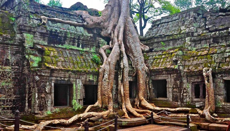 The otherworldly atmosphere of Cambodia's Ta Prohm Temple has served as the backdrop for many modern day adventure films, including Lara Croft: Tomb Raider, starring Angelina Jolie (public domain image, circa 2011).